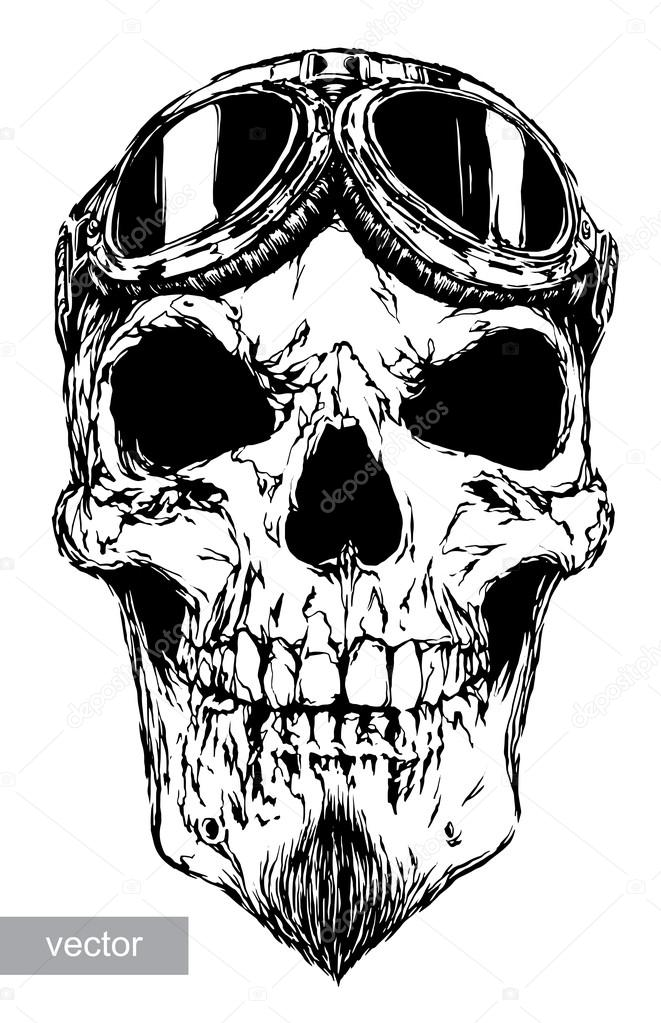661x1023 Skull With Beard On Glasses Pilot Stock Vector Doublebubble