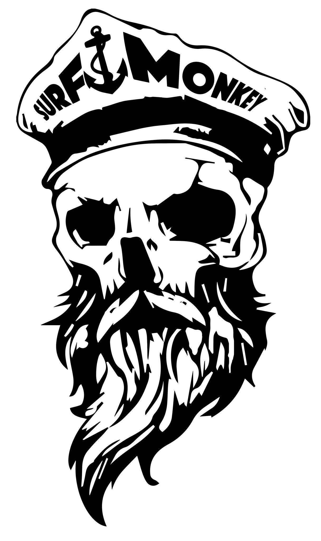 1217x2048 Bearded Skull Decal Sticker Surfmonkey Tattoo, Drawings