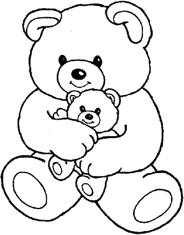 600x765 Coloring Page Of A Bear Teddy Bear And Little One Coloring Page