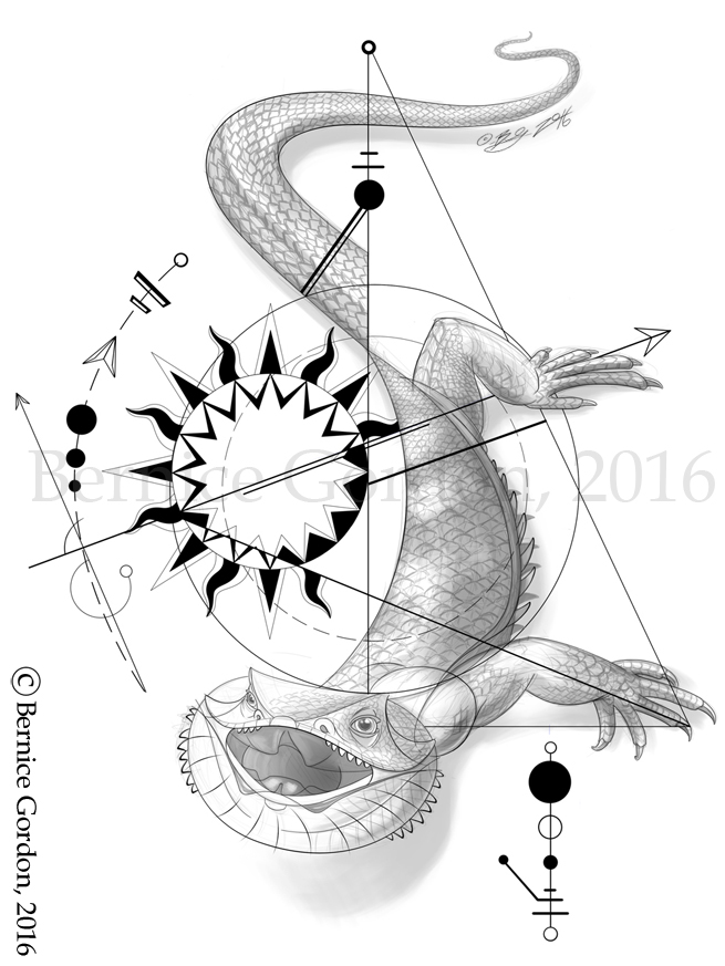 655x873 Geometric Tattoo Bearded Dragon By Tarkheki