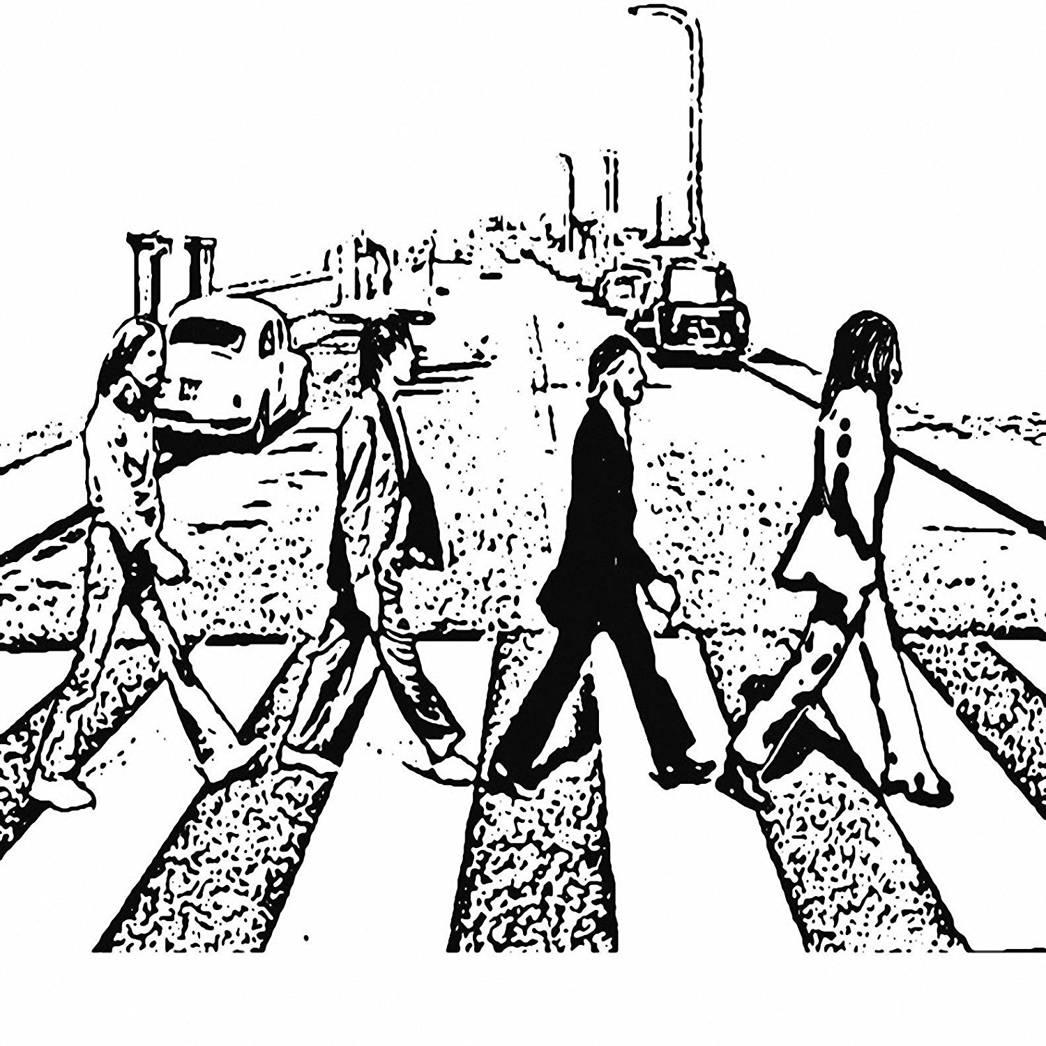1500x1500 The Beatles Abbey Road Black And White Sketch 24x24 Canvas Art