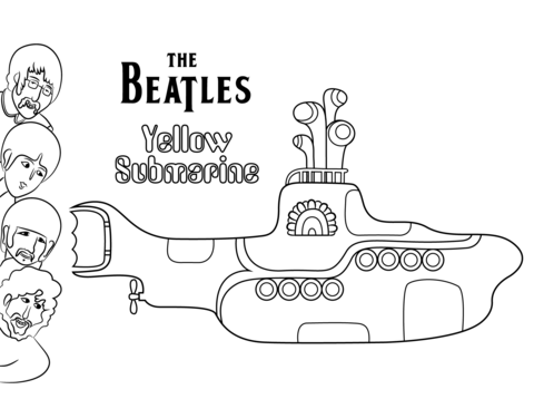 480x358 The Beatles Yellow Submarine Cover Art Coloring Page Free