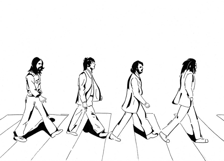 900x647 The Beatles Abbey Road By Krullie