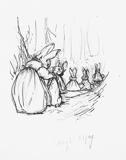 408x519 Preliminary Sketch For Peter Rabbit Beatrix Potter The Tale