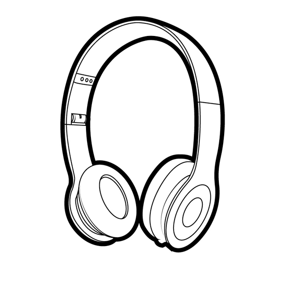 580x580 Drawn Speakers Earbuds