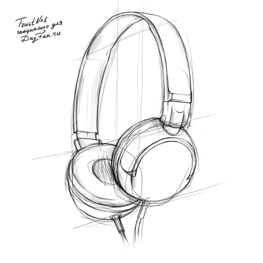 1000x1000 How To Draw Headphones Step By Step 3 Drawing