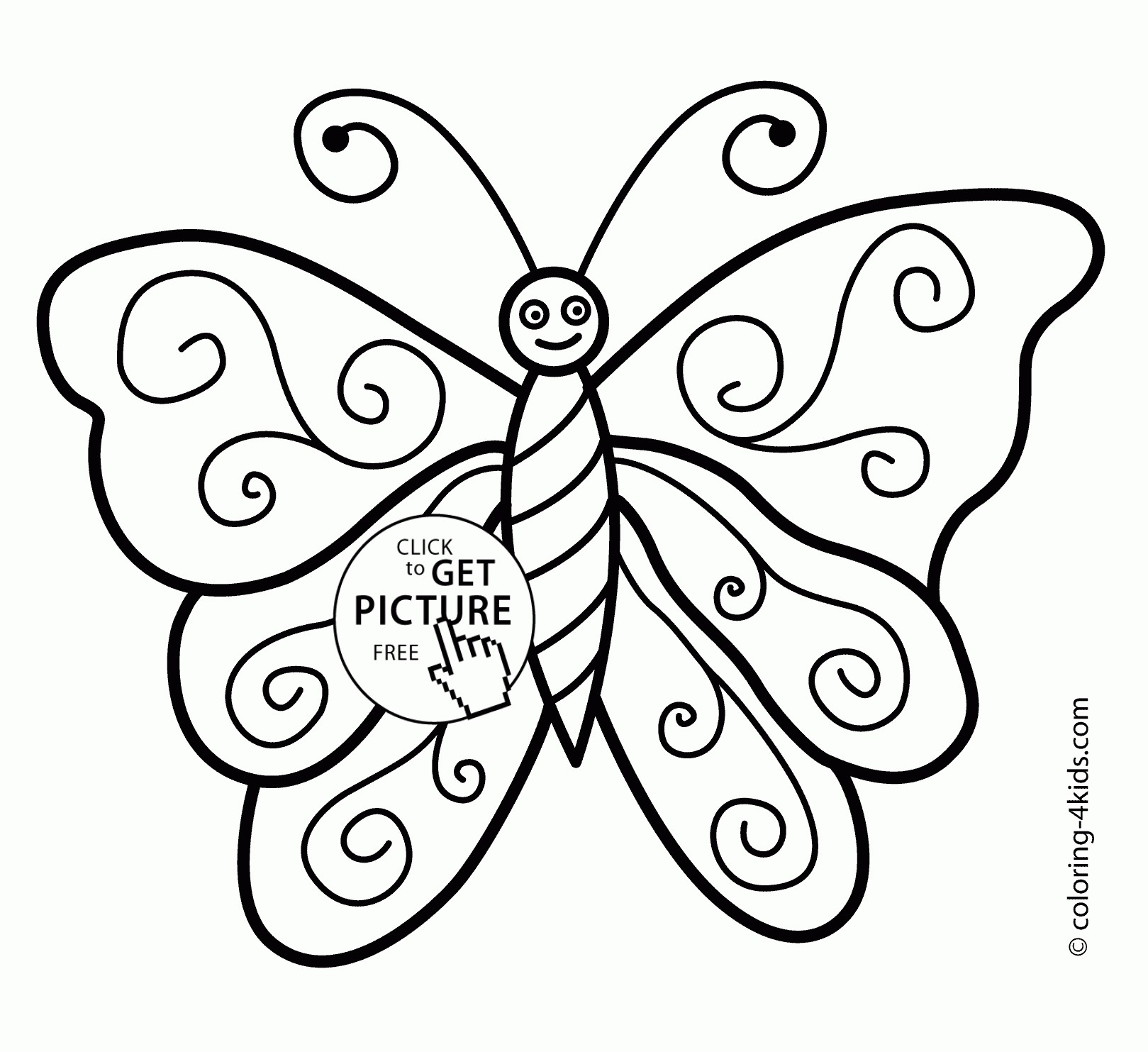 1619x1483 Smiling Butterfly Coloring Pages For Kids Beautiful Butterfly