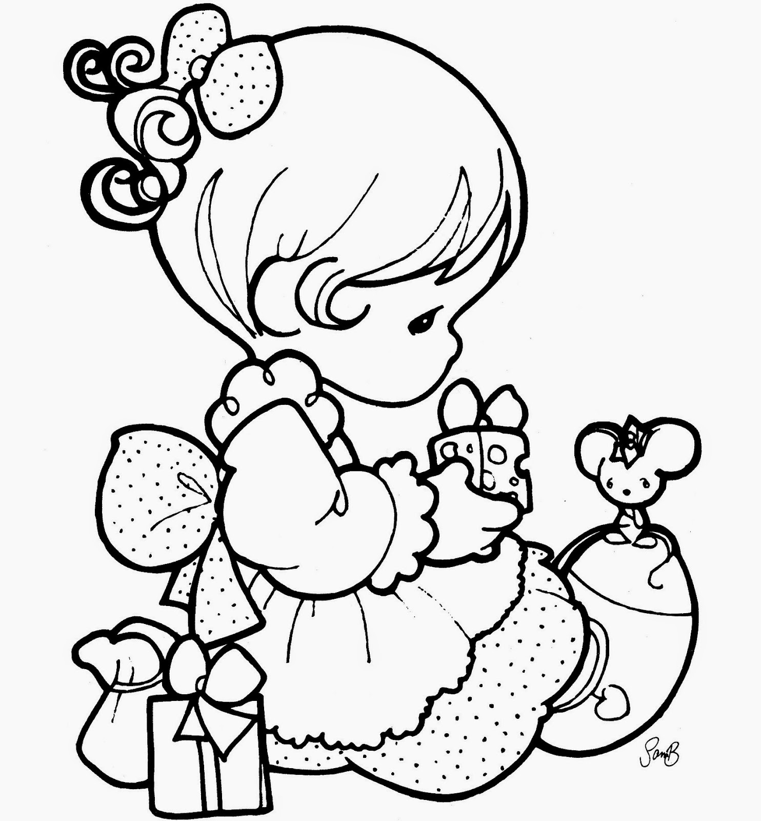 1484x1600 Beautiful Precious Moments Girl Coloring Page For Kids Of A Cute