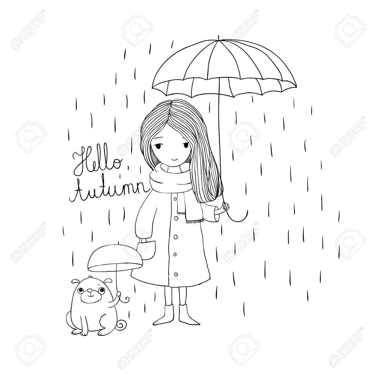 1300x1300 Beautiful Little Girl And A Cute Cartoon Pug Under An Umbrella