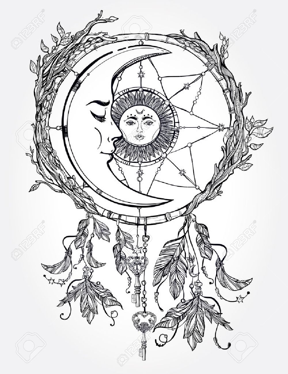 1000x1300 Hand Drawn Romantic Beautiful Drawing Of A Dream Catcher Adorned