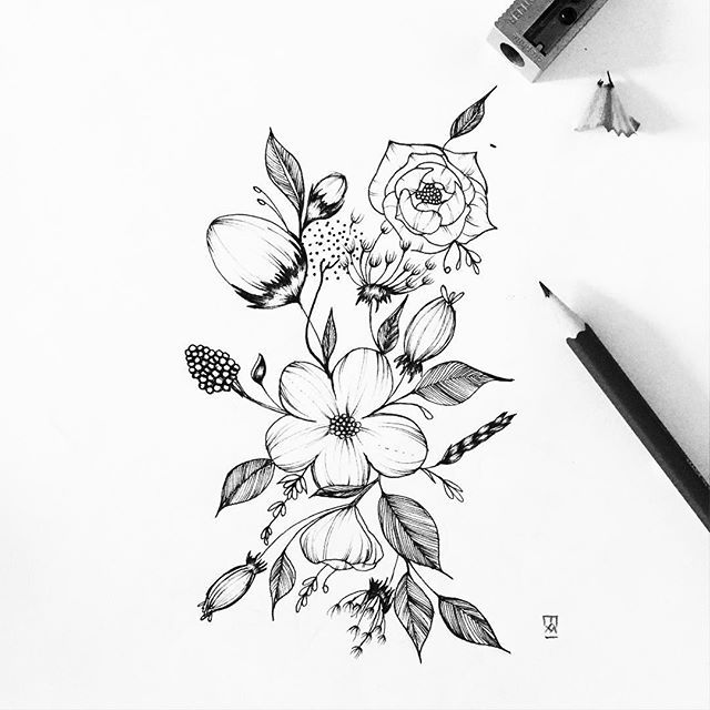 640x640 Flower Drawing Flores Y Plantas Flower, Tattoo