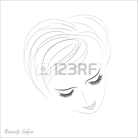 450x450 Vector Eye With Thick Lashes. Color Contact Lenses. Hand Drawing
