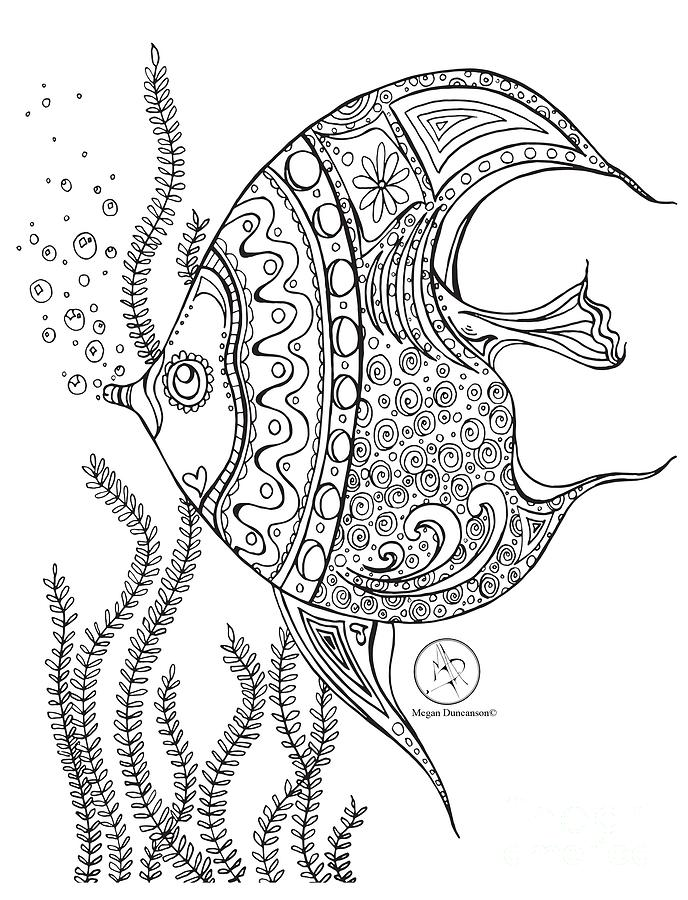 688x900 Coloring Page With Beautiful Fish Drawing By Megan Duncanson