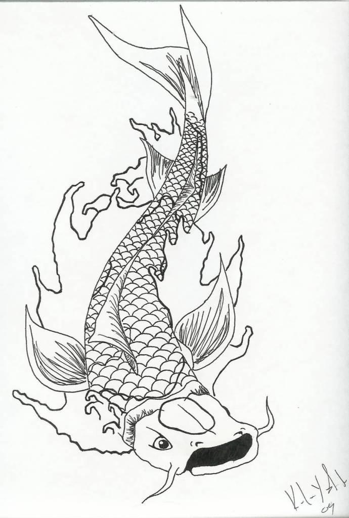 690x1024 Draw Beautiful Koi Fish Tattoo Design