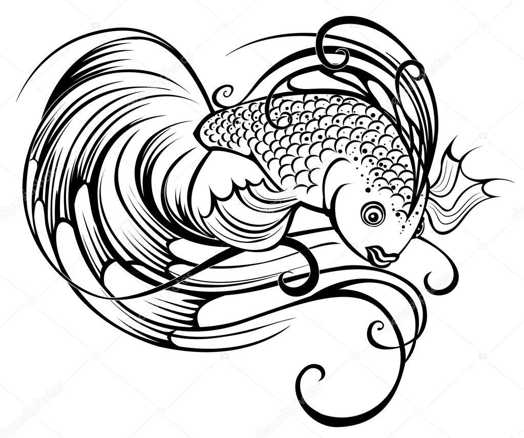 1023x855 Stylized Beautiful Fish Stock Vector Blackmoon979