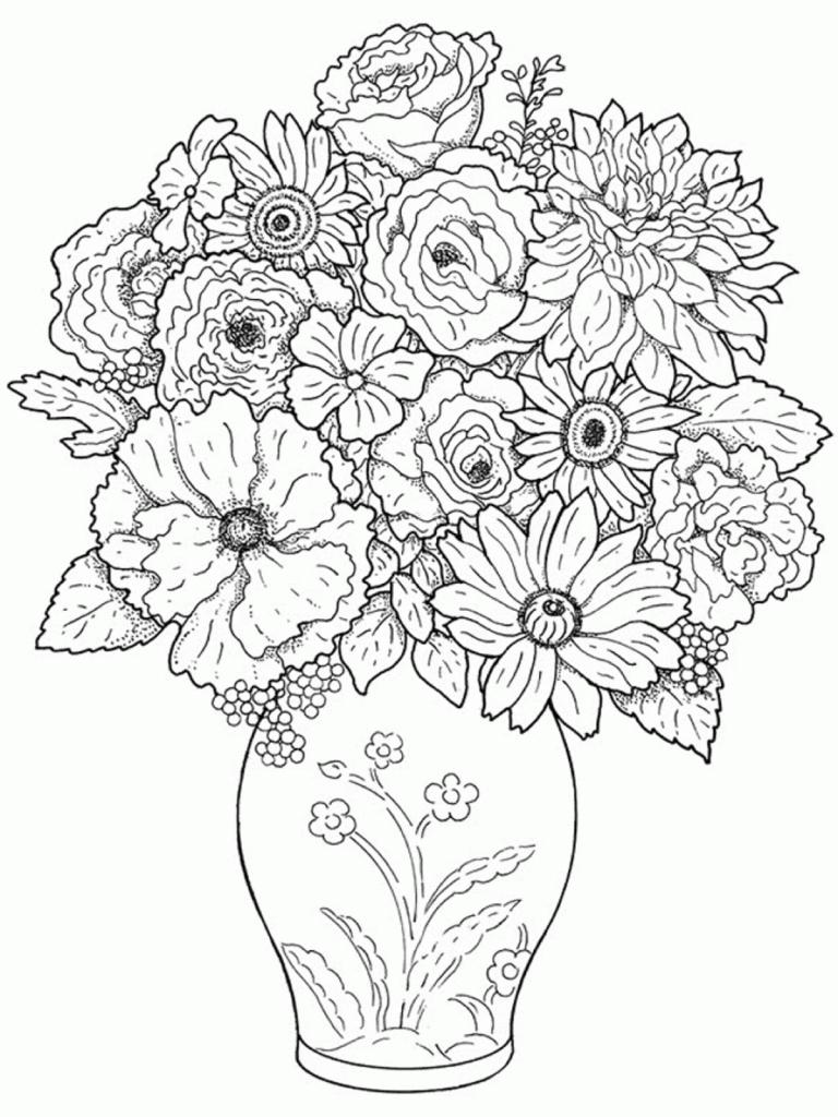 768x1024 Beautiful Flower Vase Flowers Drawing Flower Vase