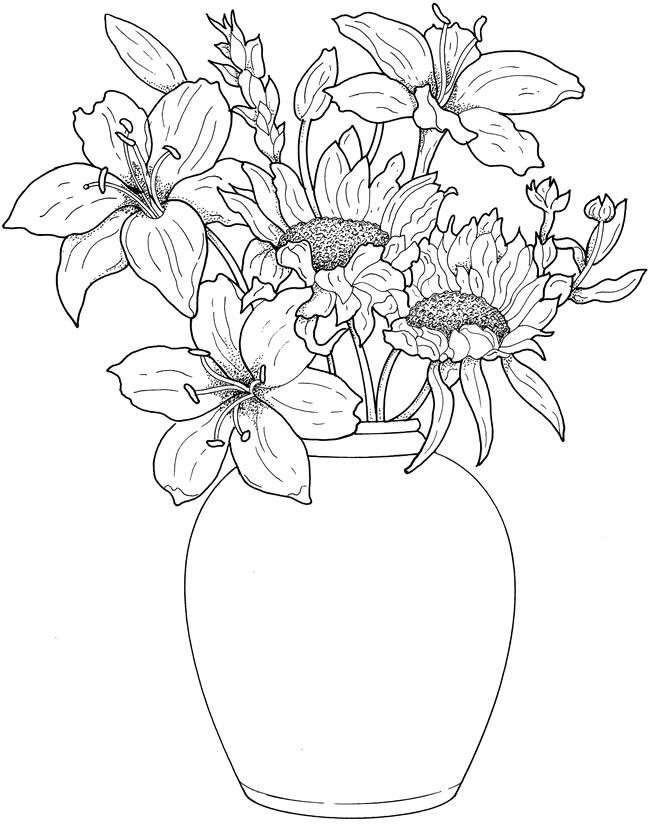 650x827 Pictures Beautiful Flower Vase With Flowers Drawing,