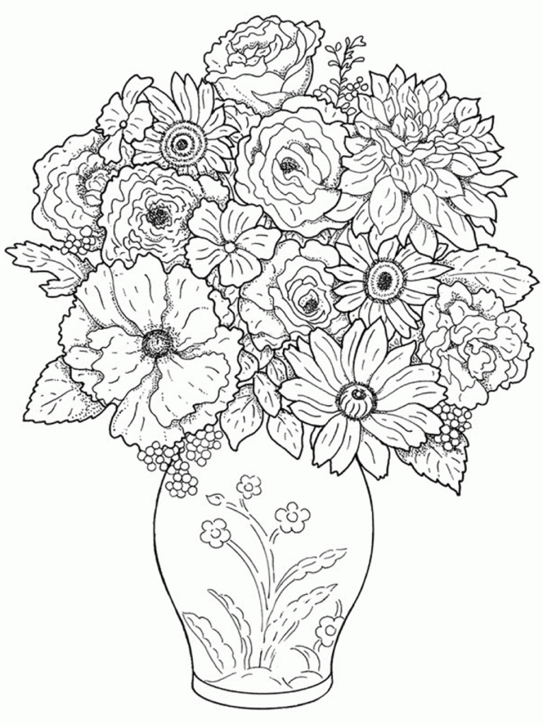 768x1024 Beautiful Flower Vase With Flowers Drawing Beautiful Flower Vase