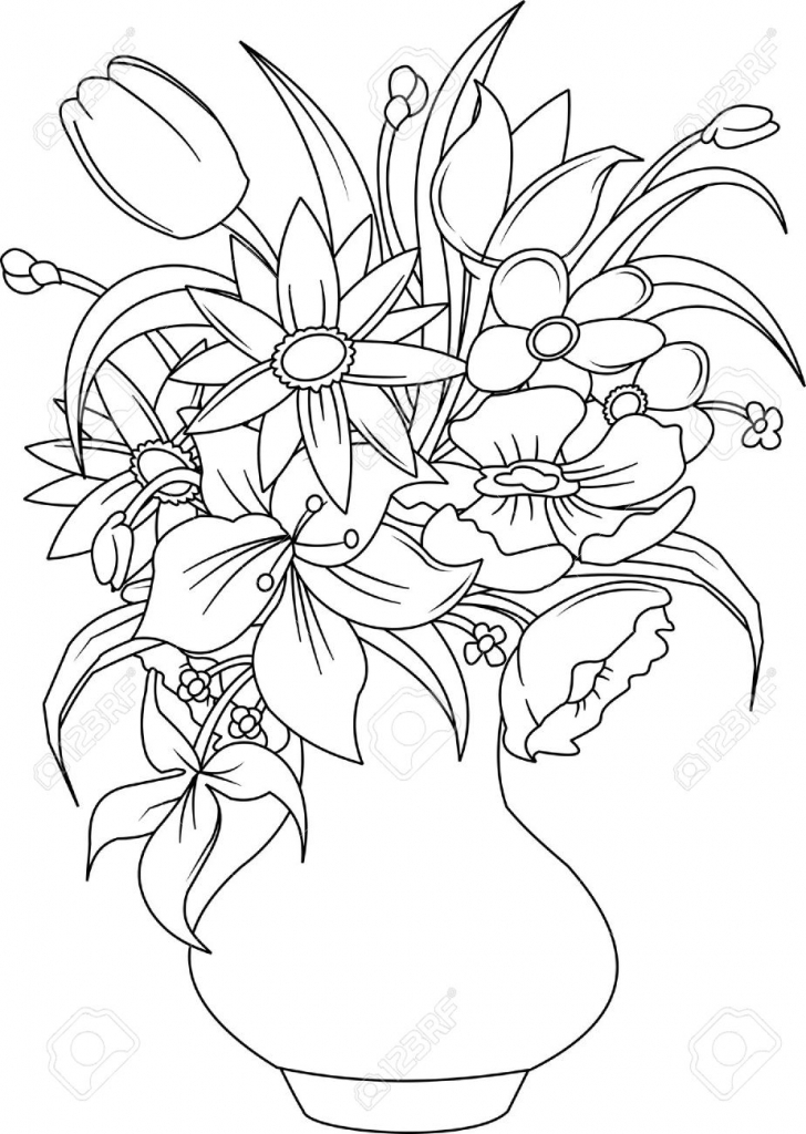 728x1024 Beautiful Flower Vase With Flowers Drawing Bouquet Of Summer
