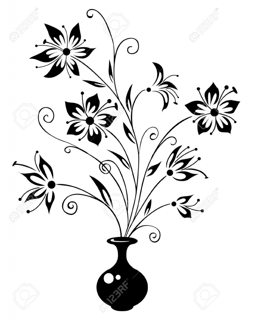 819x1024 Beautiful Flower Vase With Flowers Drawing Pictures Of Flowers
