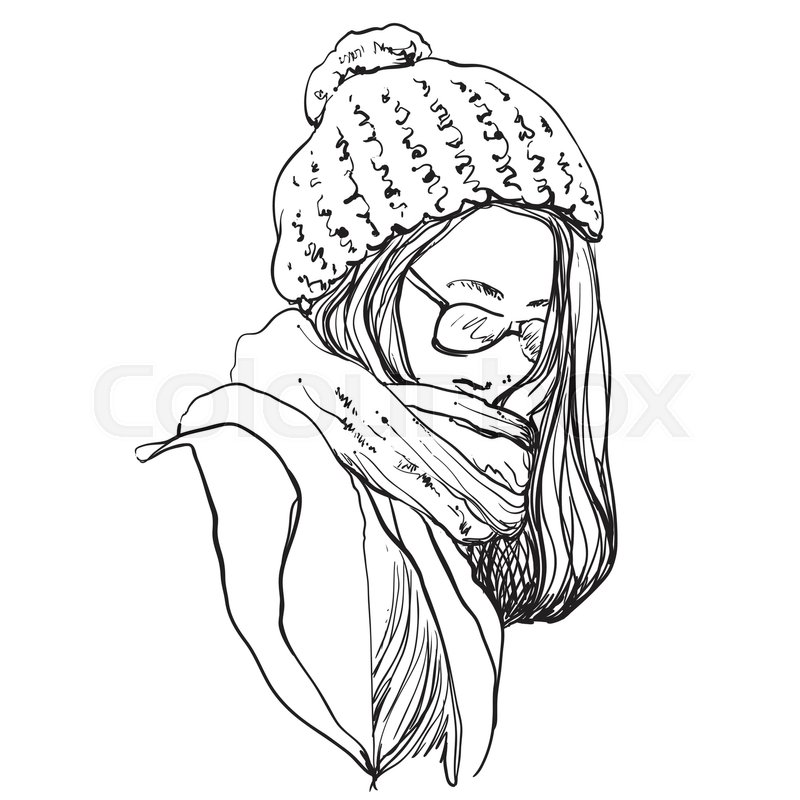 800x800 Beautiful Woman In Winter Scarf And Hat. Fashion Illustration