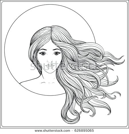 450x470 Entertaining Hair Coloring Pages Best Of Young Beautiful Girl Long