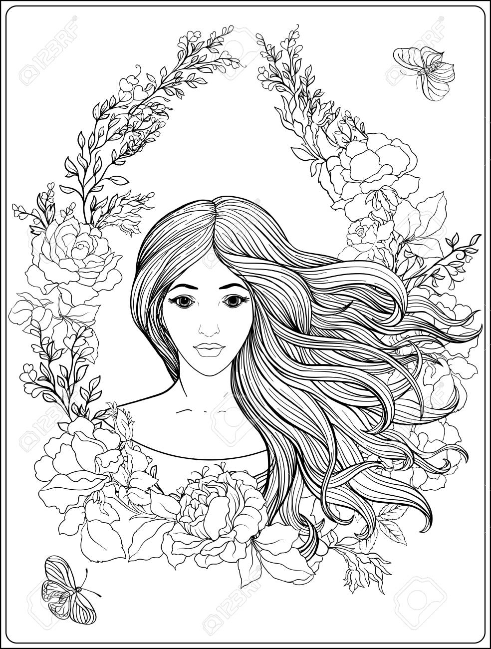 984x1300 Young Beautiful Girl With Long Hair In Rich Decorated Floral