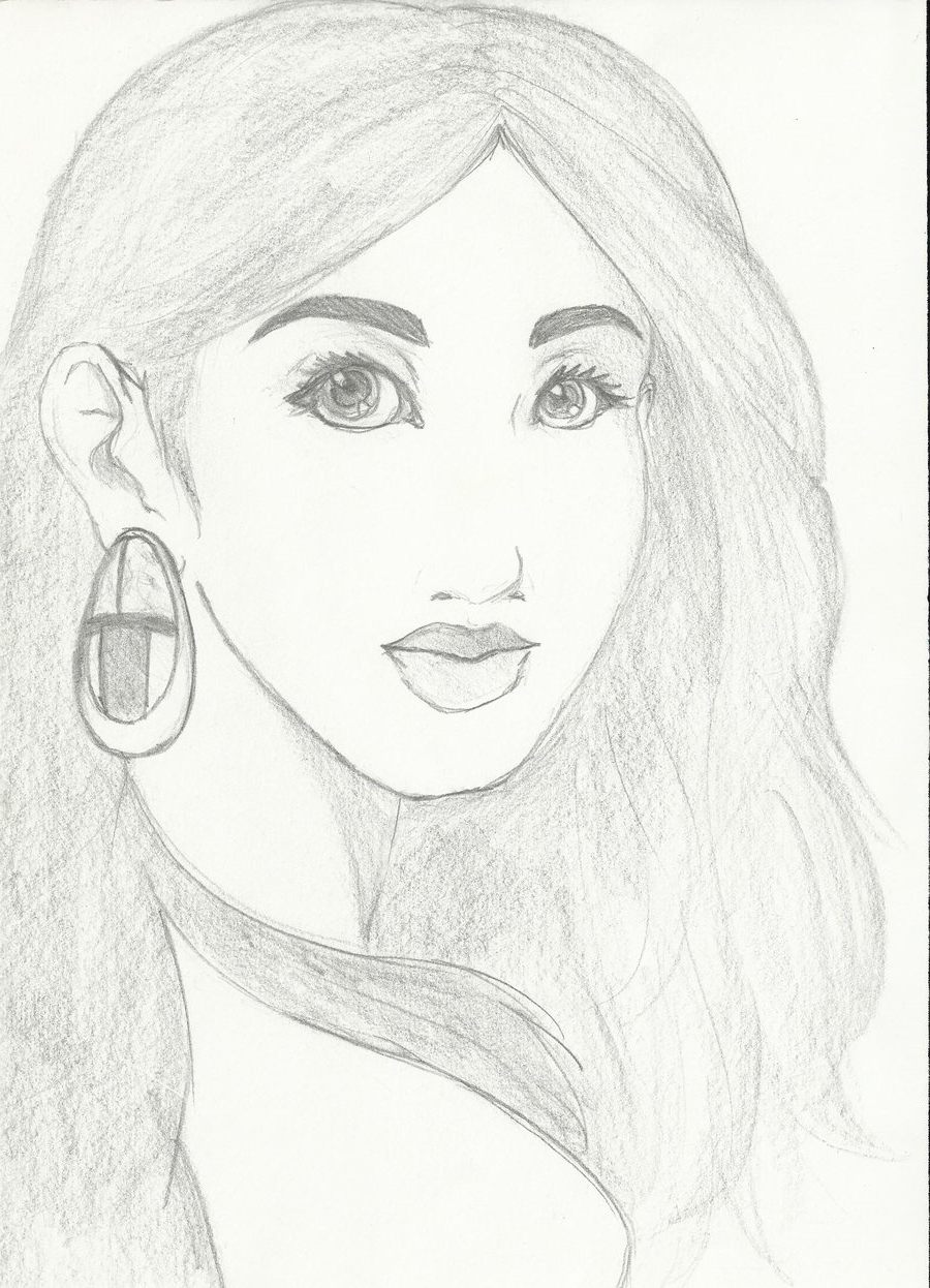 900x1246 Beautiful Sketch Pic Of Girls
