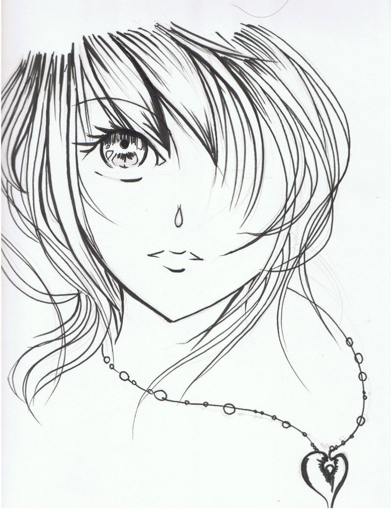 786x1024 Beauty Girl Animated Sketch Beautiful Anime Girl Sketch How