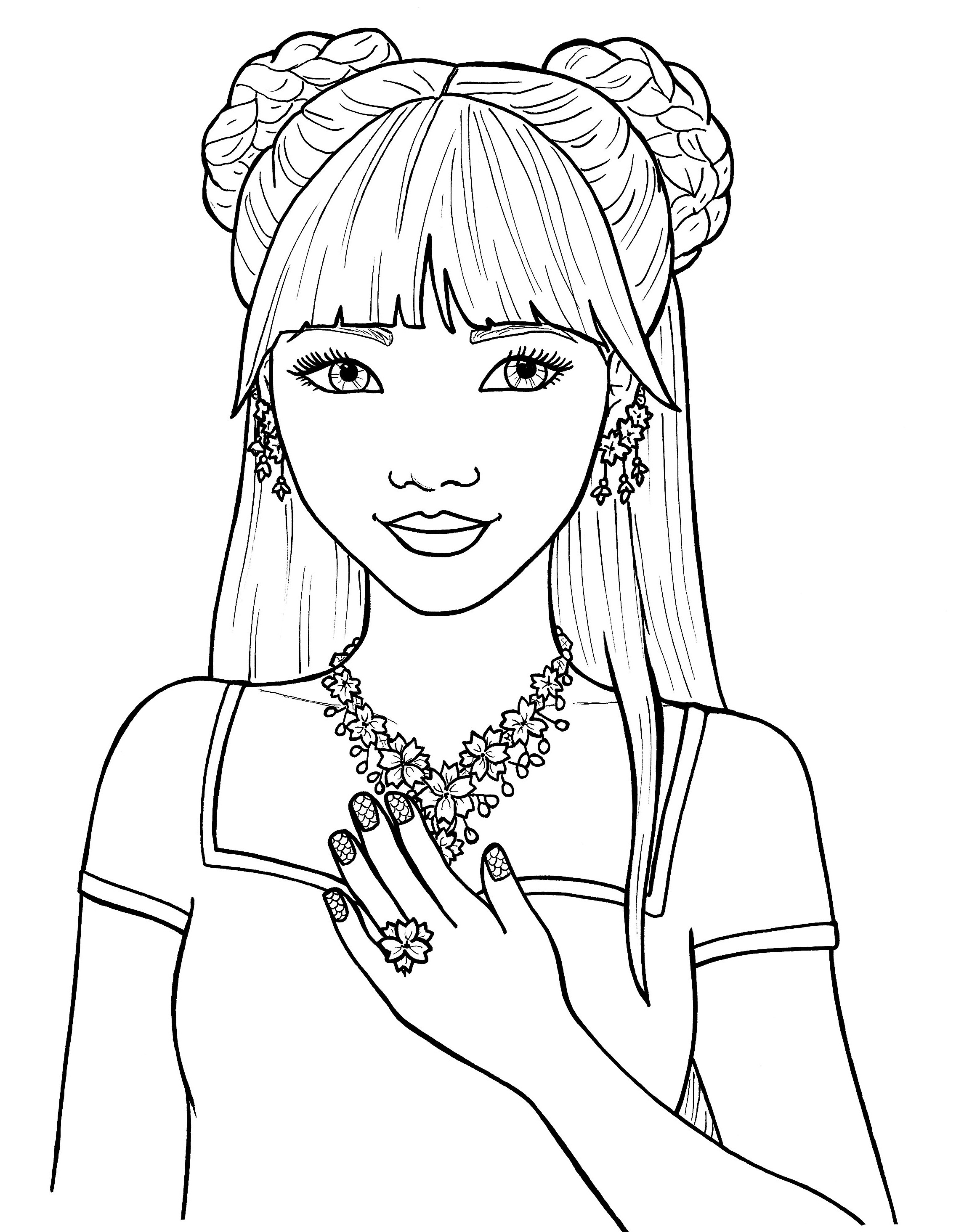 2272x2929 Cute Girl Coloring Pages Preschool To Sweet Draw Image Of Girls