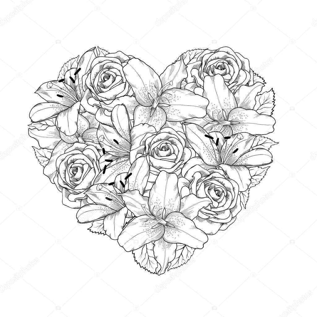 1024x1024 Beautiful Heart Decorated By Flowers, Roses And Lilies Of Black