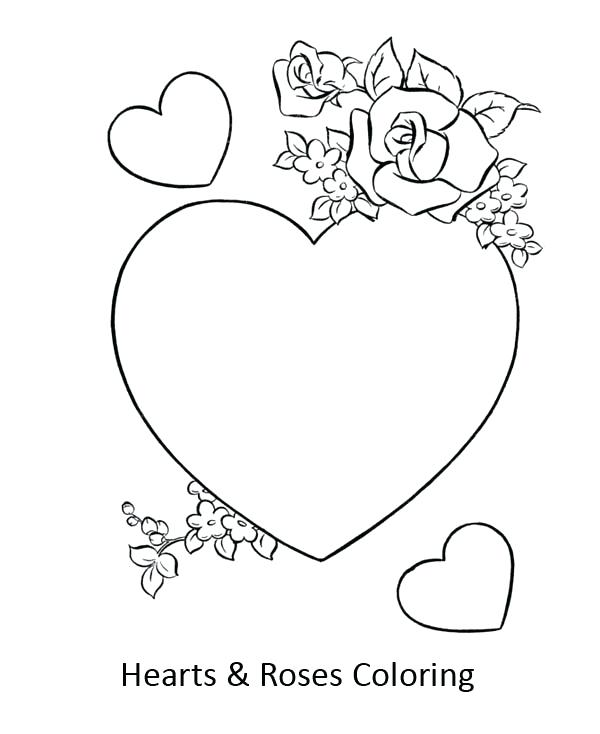 600x734 Coloring Pictures Of Hearts And Roses Heart Coloring Pages