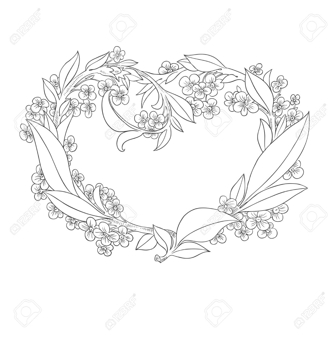 1269x1300 Drawing Decoration Pictures Beautiful Heart Valentine Flowers