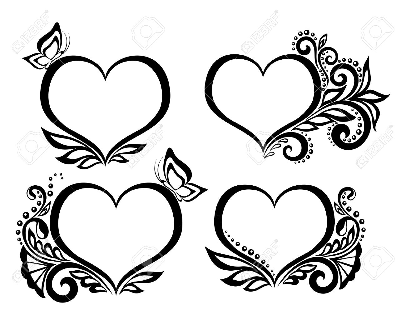 1300x1040 Set Of Beautiful Black And White Symbol Of A Heart With Floral