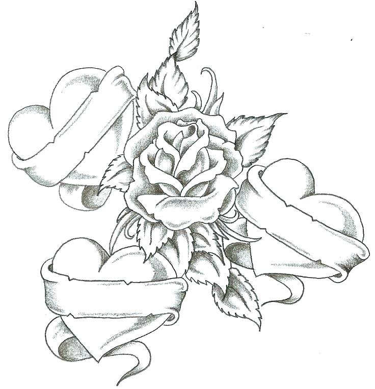 736x764 Beautiful Heart Coloring Pages Fee Free For Of Roses And Hearts Es