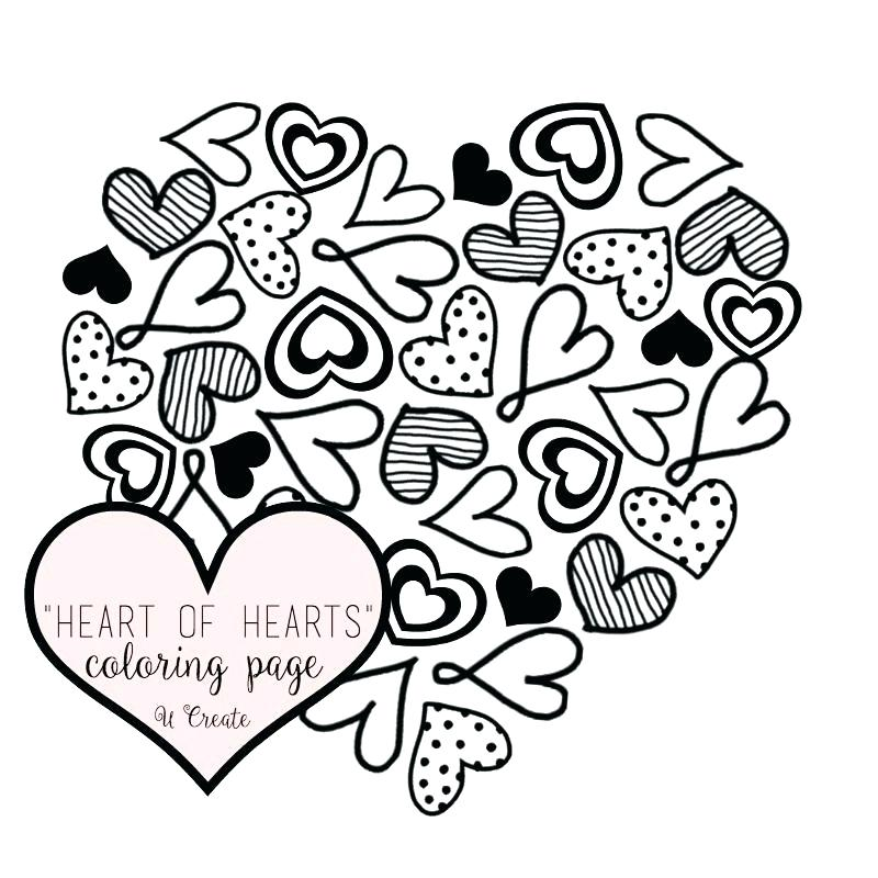 800x800 Beautiful Heart Coloring Pages Fee Hearts And Roses Printable