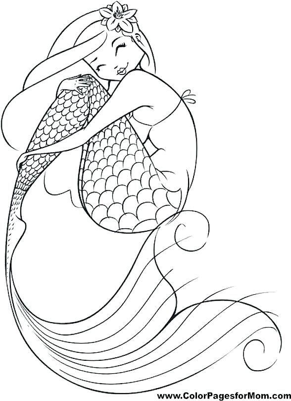 588x808 Mermaid Coloring Pages For Kids Free Anime Coloring Pages