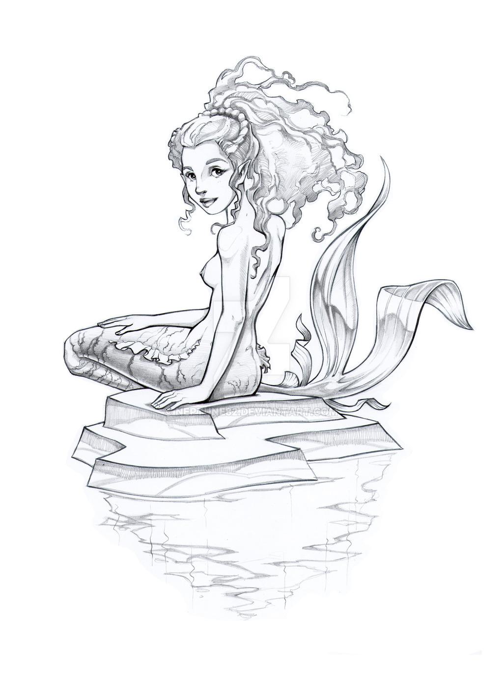1024x1376 Mermaid Sketch. Pen + Pencil By Neptune82
