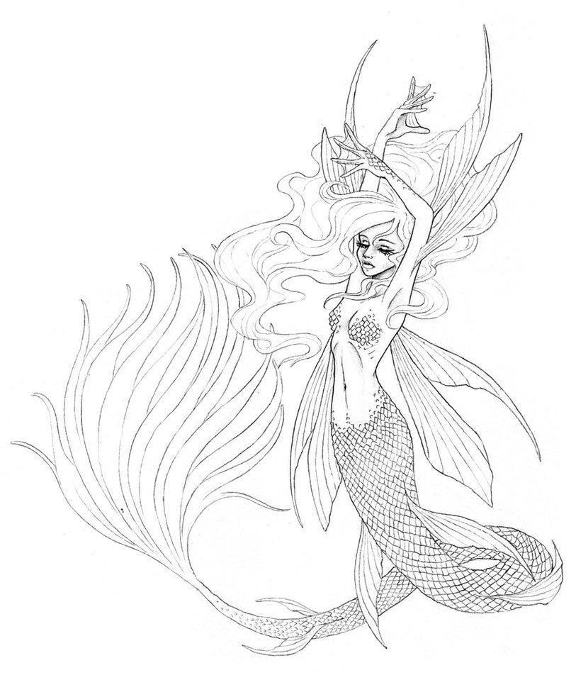 813x983 Beautiful Mermaid By Kikiuz Tattoos Mermaid