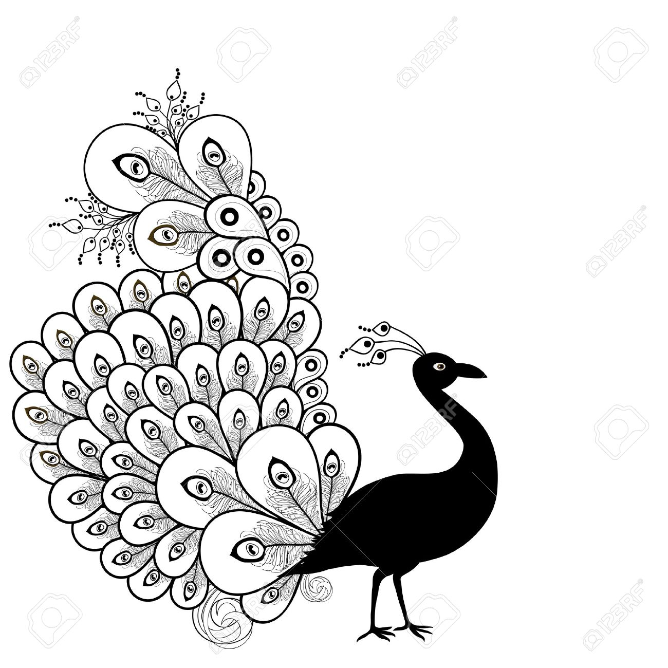 1300x1300 Card With Abstract Beautiful Peacock In Black And White Royalty