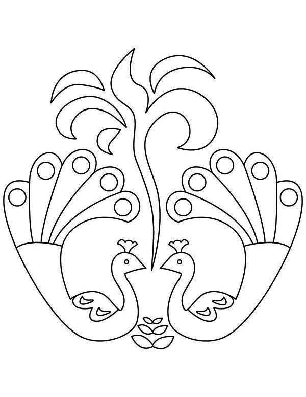 600x776 Beautiful Peacock Rangoli Design Coloring Page