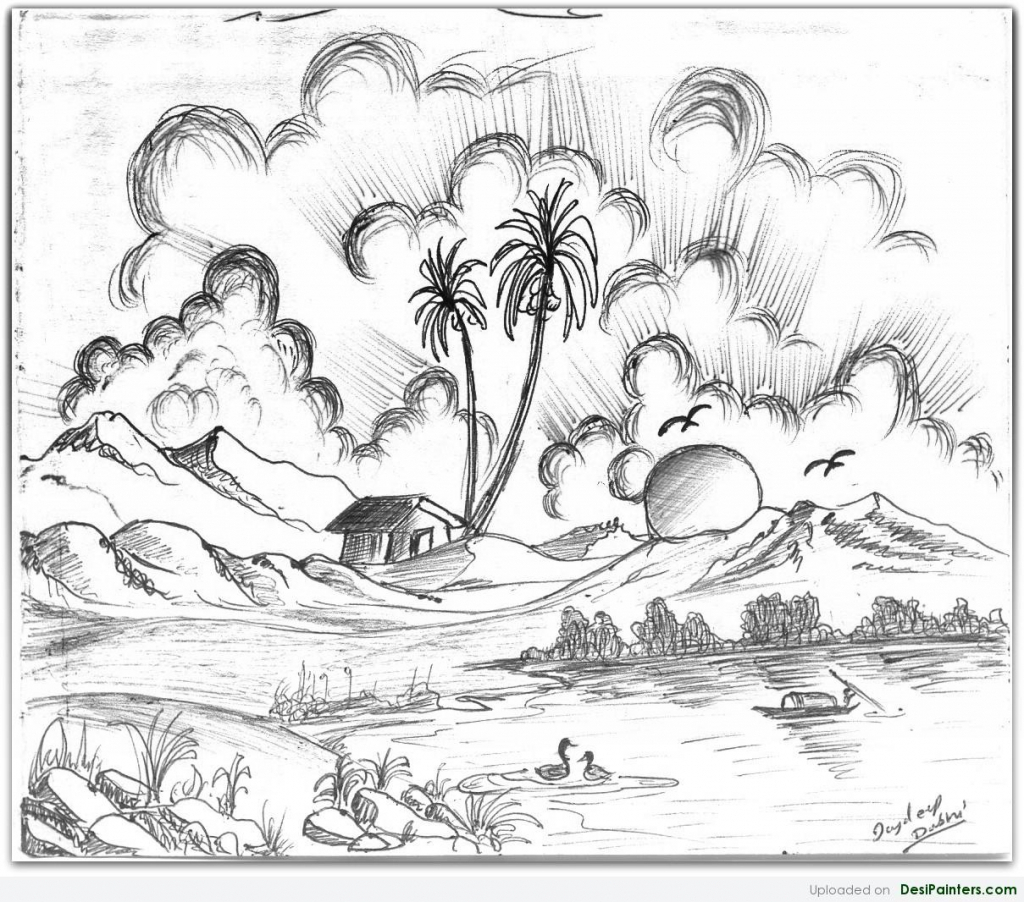 1024x902 Desi Scenery Pencil Paint Pencil Sketch Scenery Beautiful Scenery