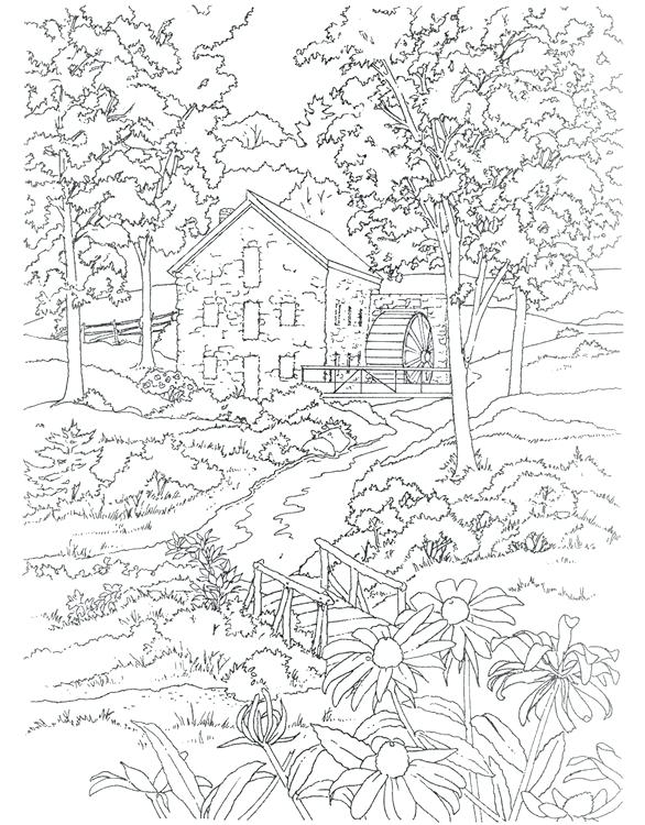 586x750 Excellent Scenery Coloring Pages Image With Gardening Page Awesome