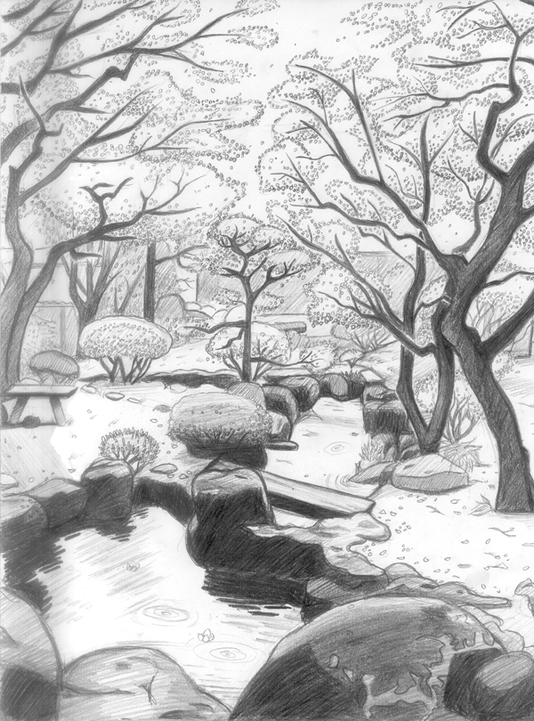Japan Nature Hd In Pencil Drawing