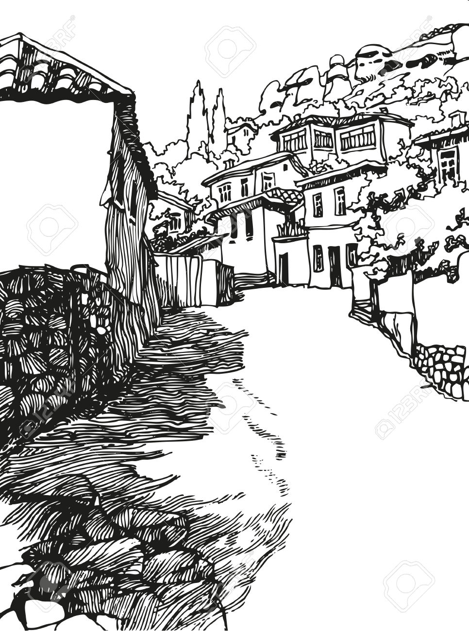 966x1300 Black And White Landscape Drawing Beautiful Village Drawing Black