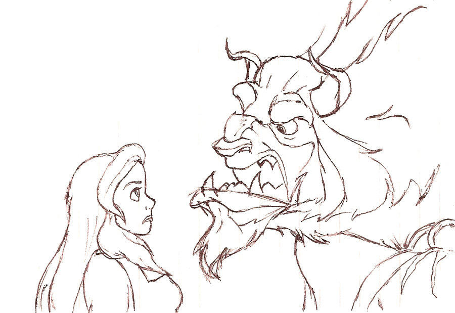 900x619 Beauty And The Beast Sketch By Marykms
