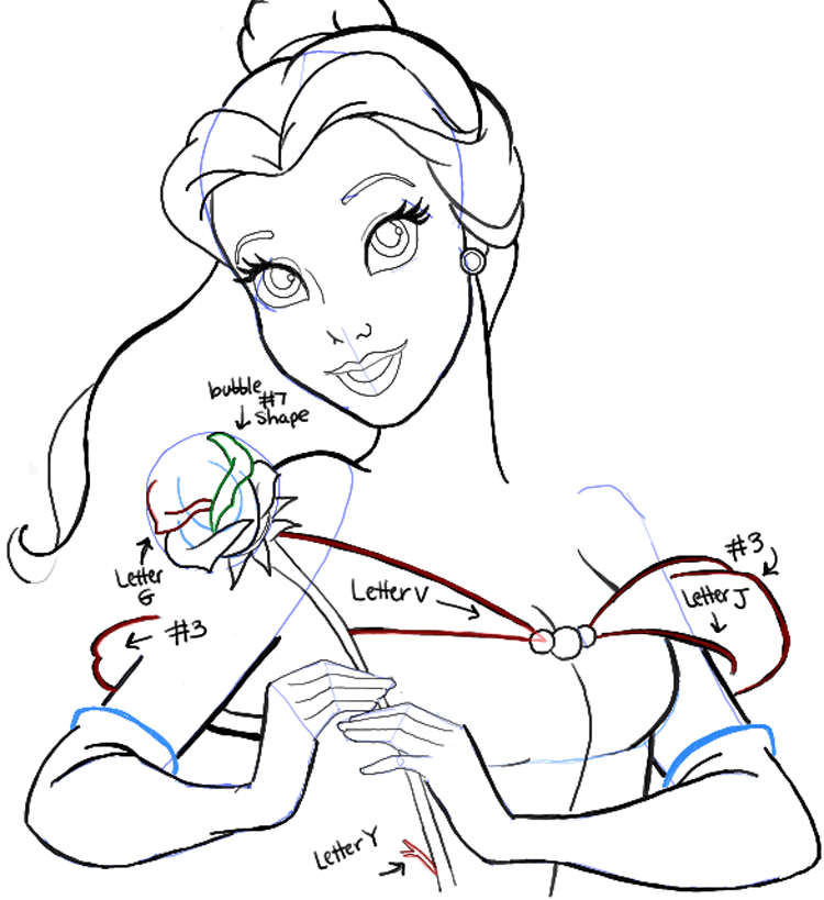 750x819 How To Draw Belle From Beauty And The Beast Step By Step Tutorial