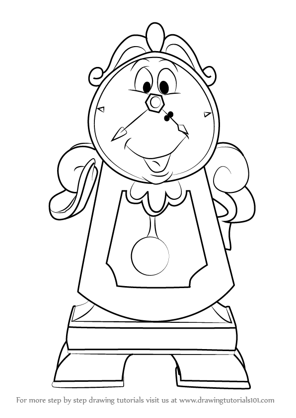 596x843 Learn How To Draw Cogsworth From Beauty The Beast (Beauty