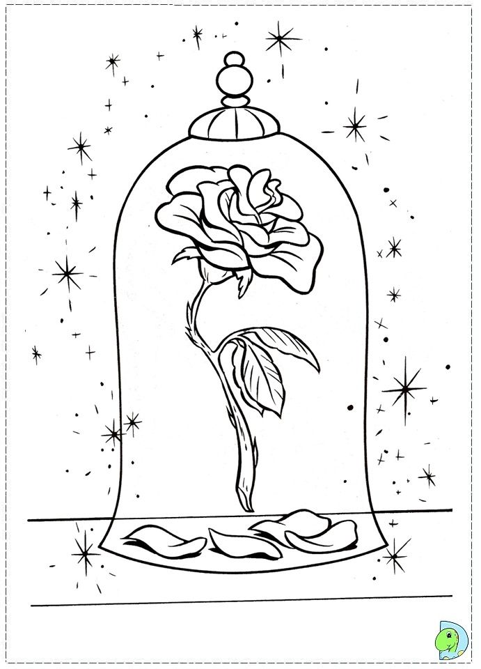 691x960 Beauty And The Beast Rose Coloring Pages