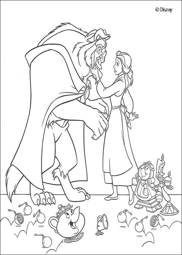 607x850 Beauty And The Beast Coloring Pages Drawing For Kids Free